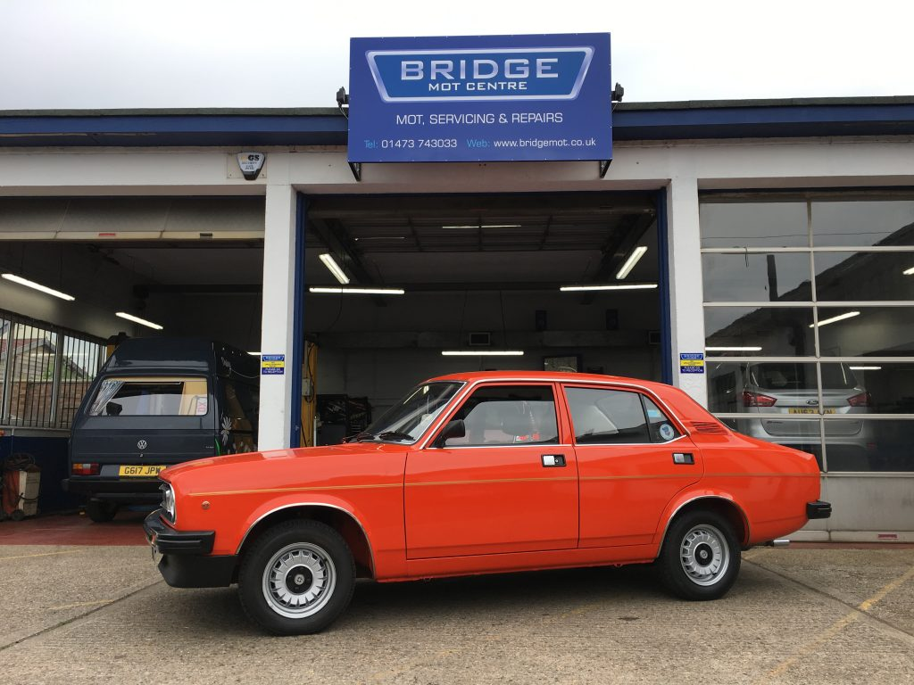 Morris Marina 1300L in for an MOT